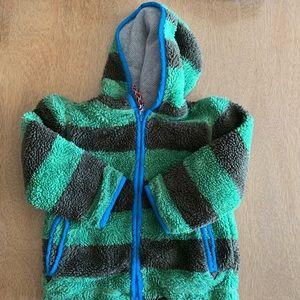 Mini Boden Fluffy Green & Brown Striped Jacket 3-4